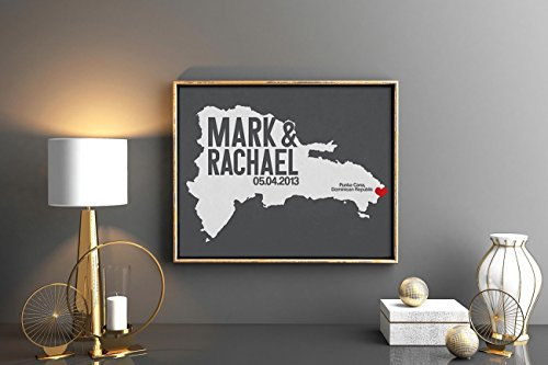 Dominican Republic or Any State Map Print with Couple's names destination wedding date and location, custom colors any state or any country available wedding gift first anniversary gift