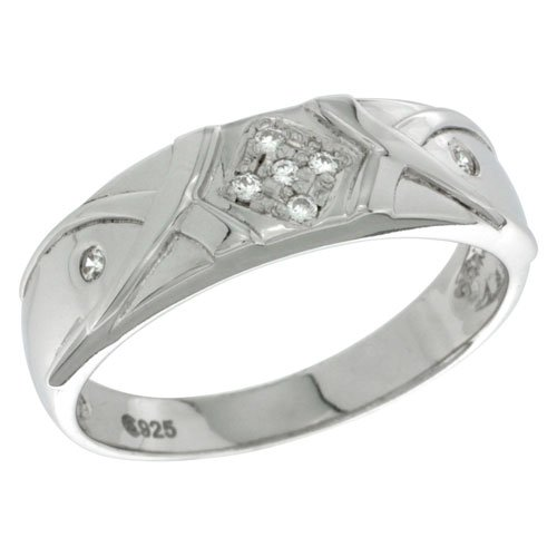 Sterling Silver Diamond Simulant 6mm Mens Wedding Band