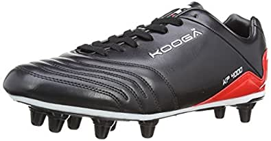 Kooga Unisex-Adult KP 4000 LCST 8 Stud Rugby Boots 31412 Black/Red/White 6 UK, 39.5 EU Regular