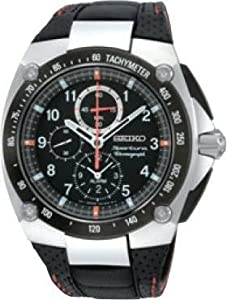 Buy Mens Stainless Steel Seiko Sportura Alarm Chronograph Black Dial SNAD59 by Seiko
