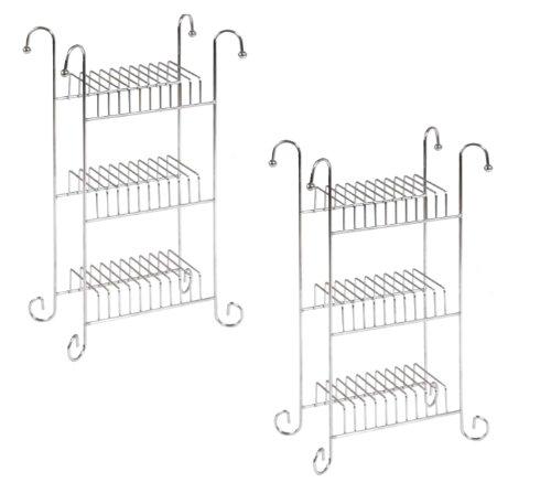 SET OF 2: Chrome CD Storage Rack Unit (Capacity of each unit: 30 CDs)