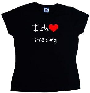 Ich Liebe Freiburg Damen-T-Shirt, Schwarz