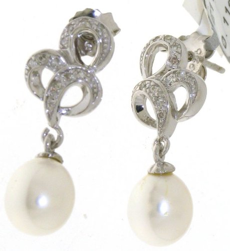 Stunning 925 Sterling Silver Ladies Fancy Diamond Stud Earrings Brilliant Cut 0.11 Carat H-I1 with Pearl - 14mm*15mm