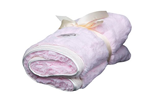 LUXE BABY Cloud Faux Fur Stroller Blanket, Pink