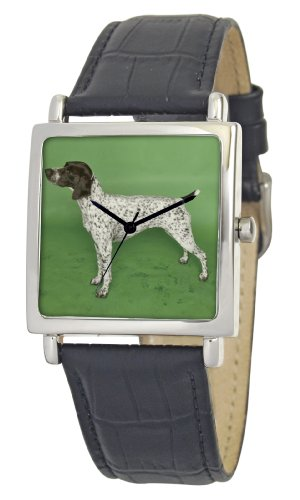 American Kennel Club Men's D1804S015 German Shorthaired Pointer Silver-Tone Black Leather Watch