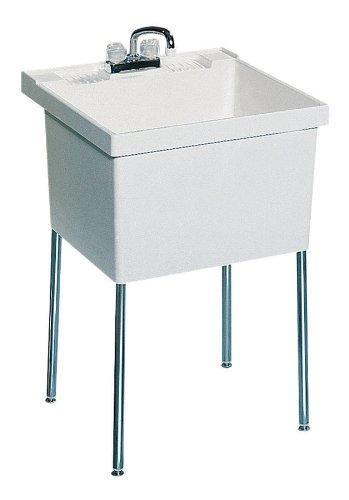Swanstone ST-1F-010 Veritek 22-1/2-Inch by 23-Inch Floor-Standing Single Laundry Tub, White Finish