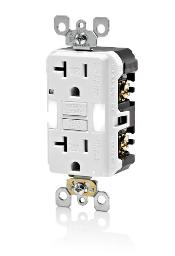 Leviton X7892-W 20 Amp, Slim Guide Light Gfci, Smartlockpro, Monochromatic, Back And Side Wired, Self-Grounding Clip, Tamper Resistant, White