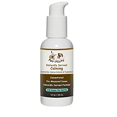 Liquid Dog Calming Aid - Decreases Separation Anxiety - Relieves Stress - Reduces Fear of Thunderstorms - Soothes Nervousness - Naturally Derived Formula - Pre-measured Doses - 4fl Oz Measured Dose Pump Provides 118 Doses - Faster Absorption Then Chewable