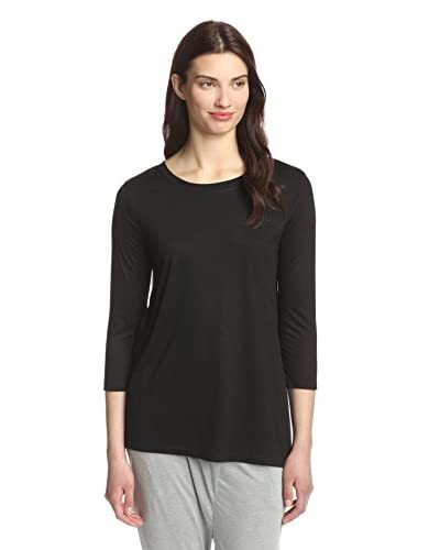 Whim Women's Asymmetric Hem Cropped Sleeve Top  [Black]