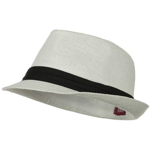 Solid Band Summer Straw Fedora - White Black S/M W20S58B