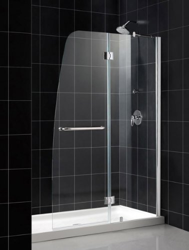 New DreamLine Aqua 48 in. Frameless Hinged Shower Door, Chrome Finish, SHDR-3148726-01