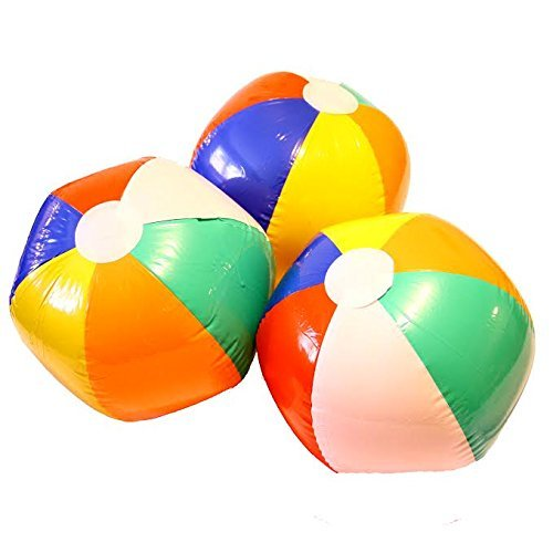 Dazzling Toys Inflatable Beach Ball 9-inch Inflated and 13-inch Deflated - Pack of 6 - Swimming POOL PARTY/Birthday FAVORS