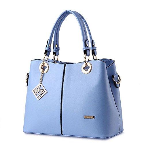 Van'an Womens PU Leather Sling Vintage Tote Bags Metal Pendant Top Handle Handbag(Blue)
