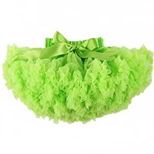 Buenos Ninos Solid Color Pettiskirt Girl's Skirts Dance Tutu Dress Baby Skirt Petticoat,Gluorescent Green Size 5-6T