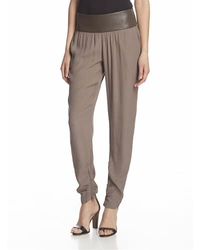 Fade to Blue Women's Slouch Pant with Faux Leather