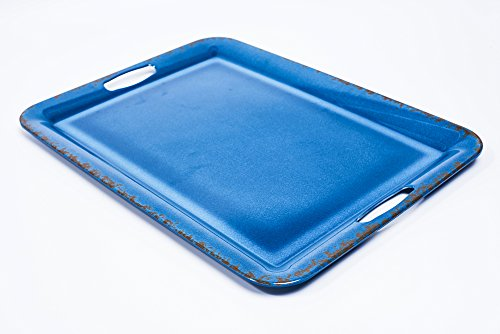 Yinshine Crack Design 20 Inch Large Rustic Serving Trays With Handle,Blue Color