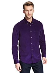 Pure Cotton Button-Down Collar Corduroy Shirt