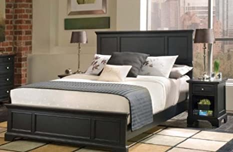 Home Styles 5531-5013 Bedford Queen Bed and Nightstand, Black Ebony Finish