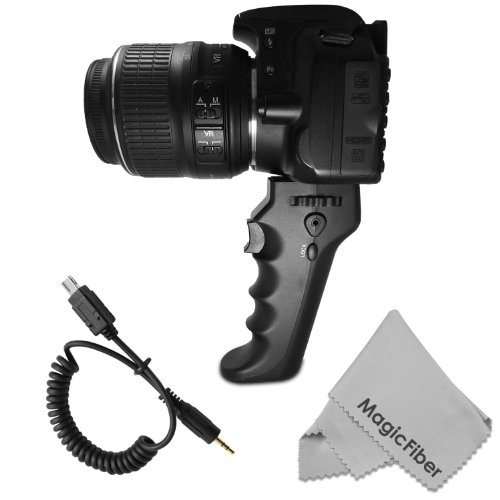 Camera Pistol Grip With Trigger For Shutter Release (Mc-Dc2 Replacement) - Compatible With Nikon D7100 D7000 D5300 D5200 D5100 D5000 D3200 D3100 D3000 D90 + Magicfiber Microfiber Lens Cleaning Cloth