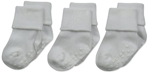 Jefferies Socks Organic Cotton Turn Cuff Sock, 3 Pack, White, 3-12 Months