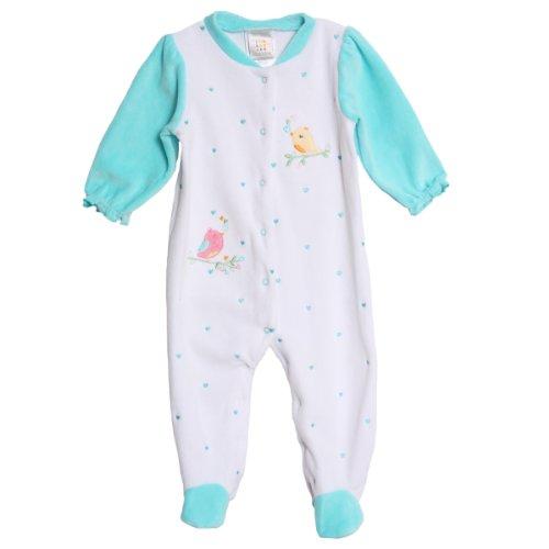 Absorba Baby-Girls Newborn Birds V Footie, White/Blue, 3-6 Months front-917943