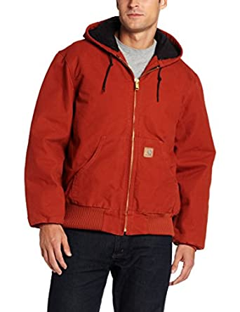 Carhartt Men's Sandstone Duck Active Jacket - Quilted Flannel Lined J130,  Red Orange,  Small