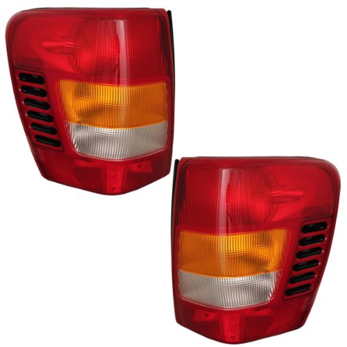 1999-2004 Jeep Grand Cherokee Taillights Taillamps Tail Lights Lamps SAE DOT Approved Pair Set: Left Driver AND Right Passenger Side (1999 99 2000 00 2001 01 2002 02 2003 03 2004 04)