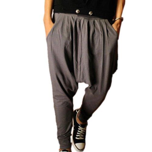 Finejo Men Hip-Hop Elastic Waist Slant Pockets Baggy Harem Pants Trousers Dar...