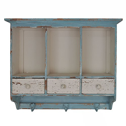 Distressed Wooden 3 Section Wall Cabinet with Cubbies and Drawers (Blue/Cream)