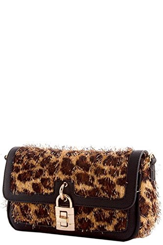 Fashion Handbag Purse Bag Clutch Black Trimmed Leopard Animal Lock Clasp Furry