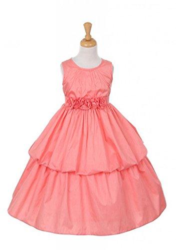 Kiki Kids Flower Girl Dress Dupiony Dress With 5 Roses On Waist 2 Coral