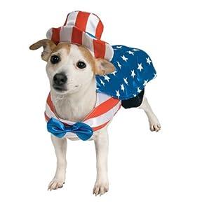 Uncle Sam Dog Costume Medium