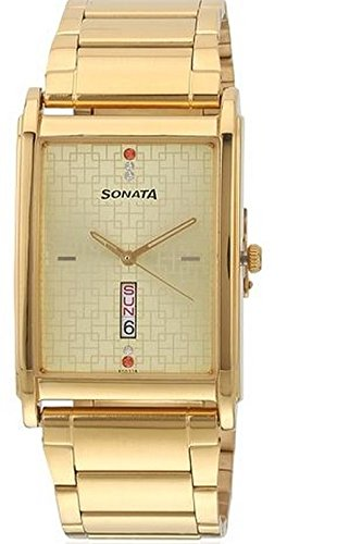 Sonata Wedding Collection Analog Gold Dial Men's Watch - 77002YM04 (yellow)