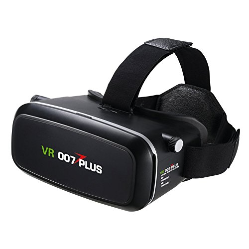 3D VR Glasses, 007plus Virtual Reality Headset for 4.0 - 6.0 inch Smartphones iPhone 6s 6 Plus Samsung Galaxy series for 3D Movies/Games (Black)