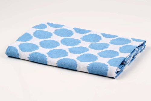 Bacati Ikat Blue Dots One Swaddling Muslin Blanket Single