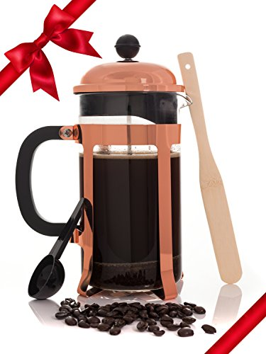 Copper French Coffee Press and Tea Infuser Heat Toughened 34 Ounce, 1 Liter Glass Carafe; Café Crush Club Avignon SS Plunger with 4 Filters, Scoop, Bamboo Bar