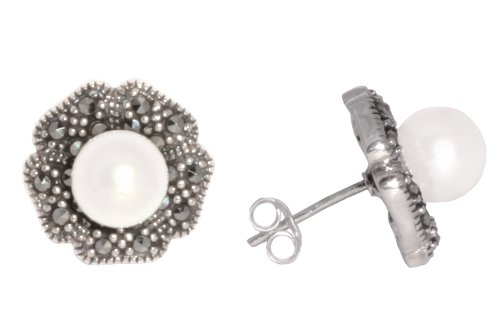 Sterling Silver Marcasite Flower with Freshwater Cultured Pearl Earrings