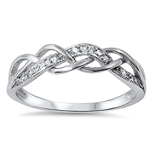 Infinity Knot White CZ Promise Ring New .925 Sterling Silver Band Size 7 (RNG14296-7)
