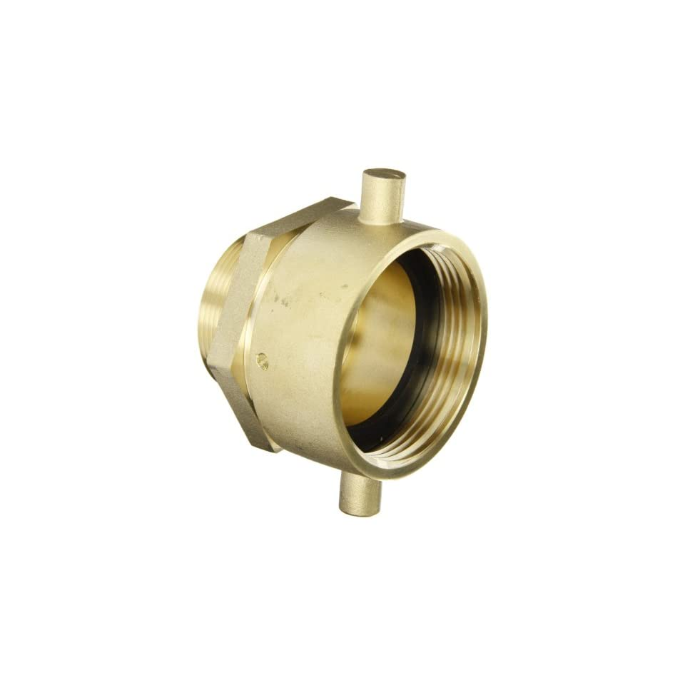 Moon 363 2522061 Brass Fire Hose Adapter, Pin Lug Swivel, 2 1/2 NH Swivel Female x 2 NPT Male