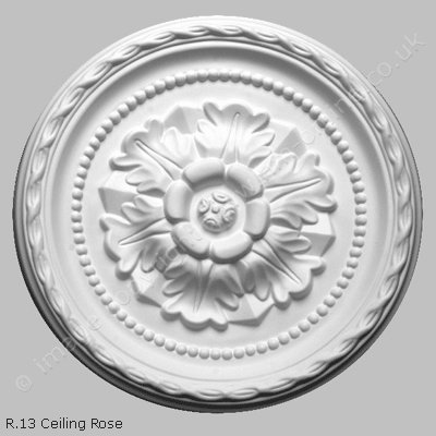 Pack of 2x R13 Ceiling Roses. An 11 inch traditional, round floral ceiling rose, with decorative detailing.