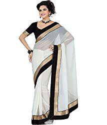 RockChin Fashions White chiffon saree with black lace work