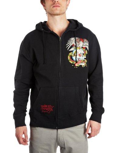 Ed Hardy Rhinestone Battle Hoodie Men's Sweatshirt Black X-Large