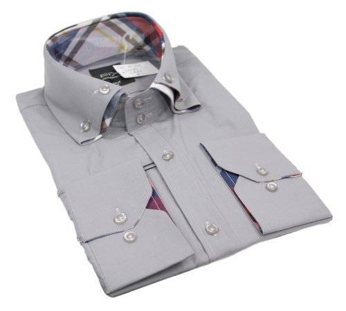 Mens Italian Design Grey Double Button Collar Shirt Very Slim Fit Smart or Casual