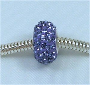 Swarovski TANZANITE Purple Crystal Pave European Charm Bead