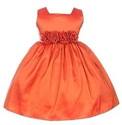 Sweet Kids Baby-Girls Slvless Dress Flw Waistband 12M Med Orange (SK B3047)