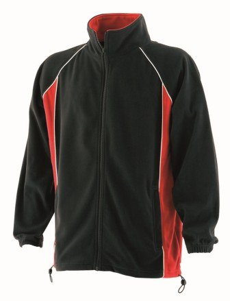 Finden & Hales LV550 Mens Piped Microfleece Jacket Black/Red/White XL