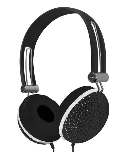 Crystal Case Rhinestone Jewel Dj Stereo Headphones (Black)