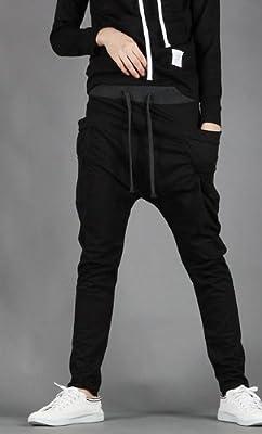 Mens Baggy Jogging Harem Pants Casual Sports Dance Training Trousers black M