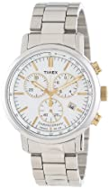 Hot Sale Timex Men's T2N5589J Dress Chrono White Dial Gold-Tone Accents Stainless Steel Bracelet Watch