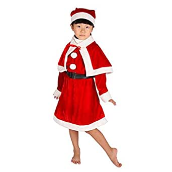 WenMei Girls Kids Christmas Velvet Santa Claus Fancy Dress Outfit Costume